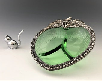 Exquisite Green Glass Divided Relish Dish With Pewter Grape Adornment
