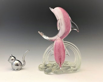 Art Glass Dolphins Figurine - Glass Dolphins Statue - Pink Jumping Dolphins