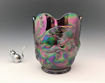 Fenton  No. 5150 Iridescent Red Carnival Glass Atlantis Vase - Signed and Dated Don Fenton - Underwater Scenes