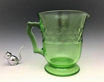 Hazel Atlas Colony Depression Glass Pitcher - Green Glass Pitcher - Glowing Uranium Glass Pitcher