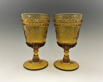 Pair of Amber EAPG Goblets - Adams and Company No. 140 (OMN) - AKA Wildflower - Early American Pattern Glass - Circa 1880's