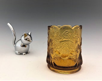 LG Wright Wreathed Cherry Toothpick Holder - Amber Glass Toothpick Holder