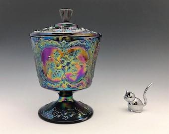 Fenton Wild Strawberry Amethyst Covered Candy Jar - Carnival Glass