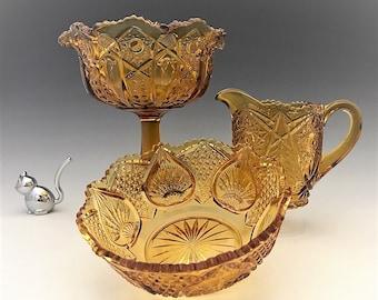 Kemple Glass Tec Pattern Revival - Quintec - Plytec - Valtec - Vintage Amber Glass