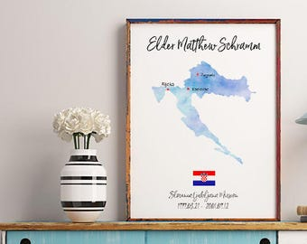 LDS Missionary personalized gift - watercolor, Sister Missionary, Lds Missionary gift ideas, Missionary Decor, LDS missionary homecoming