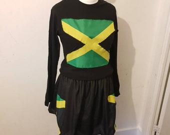 d4e5c5d485b Top showing off the flag of Jamaica and gather elastic skirt with the  colours at of flag at sides.
