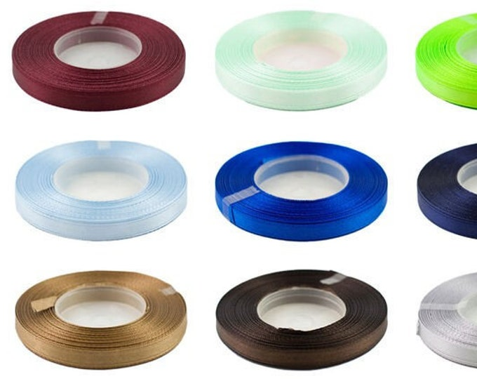 6mm wide satin ribbon, single-sided, 32-metre coil