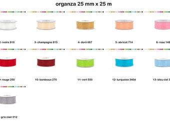 Ribbon organza / chiffon ribbon width 25 mm, roll of 25 m