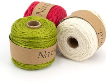 Natural jute thread 2 mm x 50 m color of your choice
