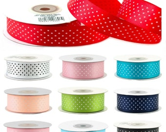 25mm satin ribbon with peas 25m long, in roll