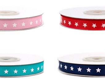 Grosgrain ribbon with stars 10 mm wide, 20 m long