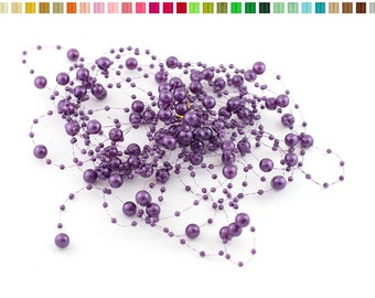 Set of 5 garlands of 1.30 resin beads m long each purple 465