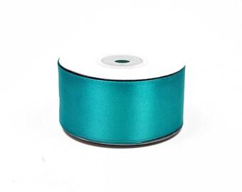 25 meters of 38 mm wide turquoise satin ribbon dark 340 ref d.
