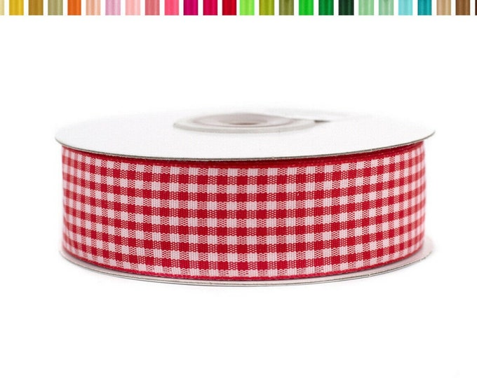 25 mm wide Vichy fabric ribbon, 20 m long in roll