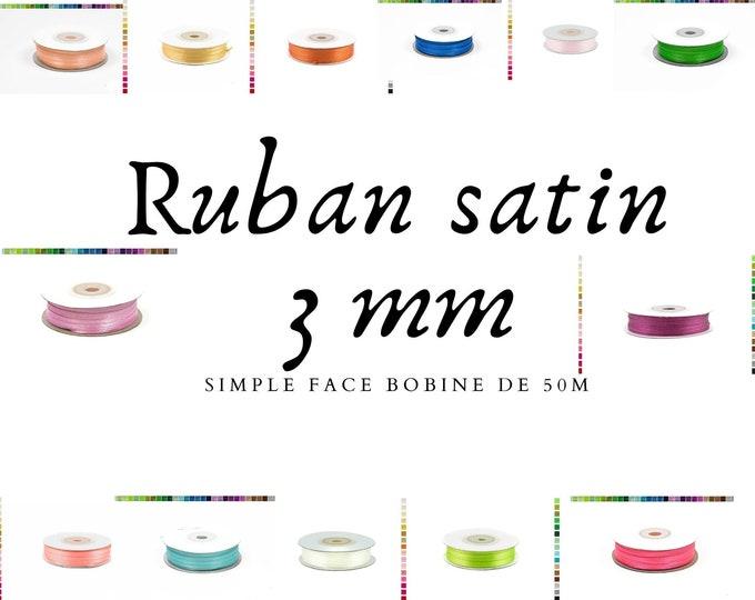 Satin ribbon 3mm 50m long