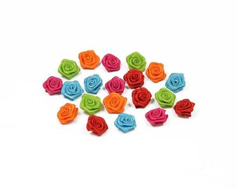 20 heads of 1.5 cm in diameter mixed Orange Blue Green Red satin rose