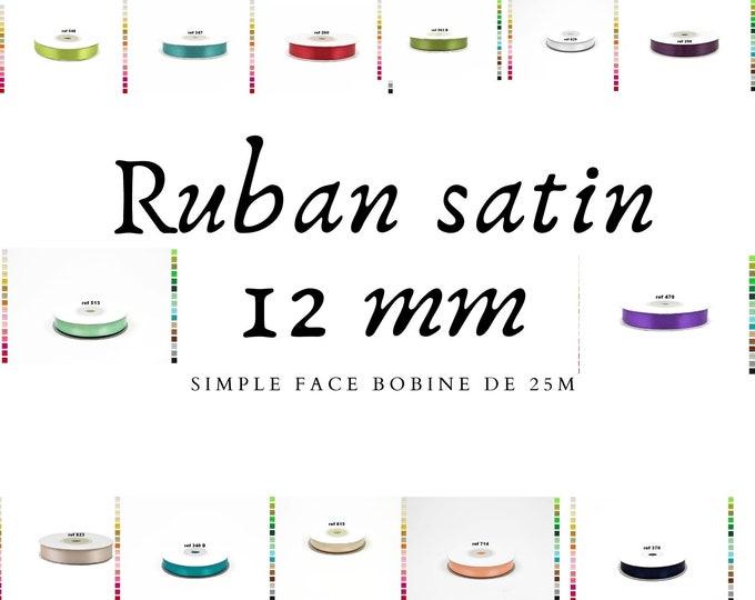 25 meter bobbin of satin ribbon 12mm