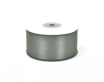 25 meters of 38 mm wide grey satin ribbon dark ref 77