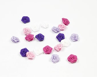 20 heads of 1.5 cm in diameter mixed pink purple white satin rose
