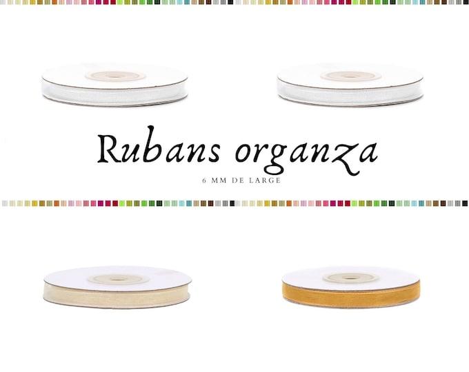 Ribbon organza / chiffon ribbon width 6 mm, roll of 25 m