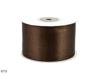 25 meters of 50 mm wide dark brown satin ribbon