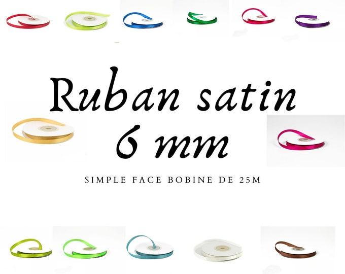 Satin ribbon 6mm long, 25m long, in roll