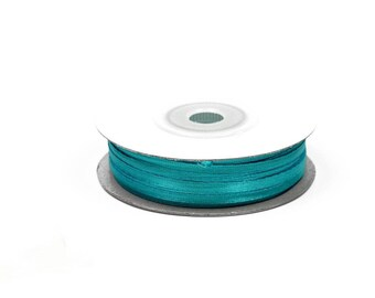 3 mm-reel 50 m TURQUOISE blue satin ribbon dark ref 340D
