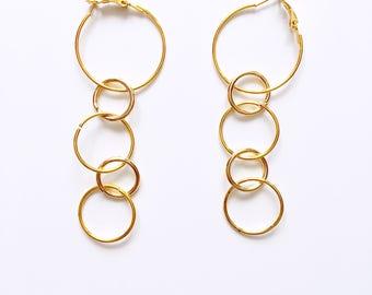 Multi rings hoop earrings