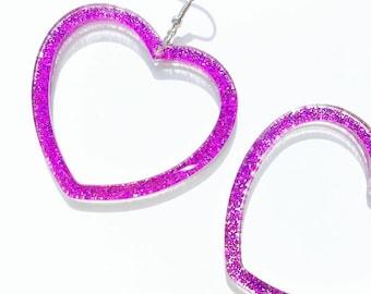 Glitter large heart earrings