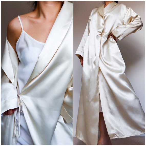 Vintage cream champagne satin long jacket robe