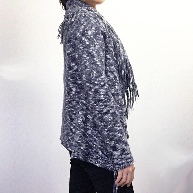 Vintage boho hippie grey knit fringe cardigan coat jacket