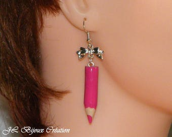 Colored pencil in polymer clay earring