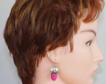 Raspberry earrings polymer clay