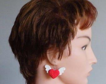 Polymer clay heart earring