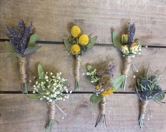 DRIED flower boutonniere, Boutonniere, custom flowers, Wedding flowers, wedding accessory, handmade, country wedding, custom wedding bout