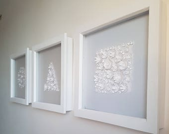 Set of 3 Framed 3D paper flowers - The Shapes Edition