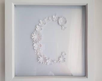Framed 3d Paper Flowers - The Letter C