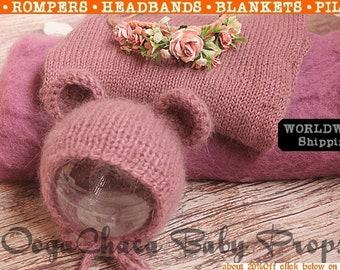 Newborn Bonnet, Mink Wrap, Baby Tieback, Wool Fluff, Newborn Wrap, Baby Bonnet, Newborn Photo Prop, Mauve Wrap, Wool Wrap, Knit Bonnet