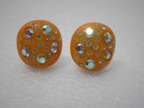 Weiss Signed Orange Celluloid and Rhinestone Clip