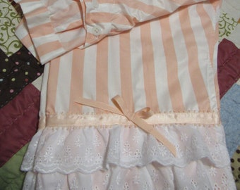 677c525637f Women s Split Drawers Peach and White Striped Civil War Reenactment
