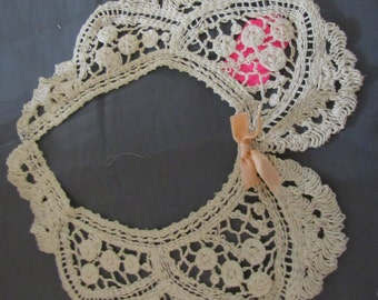 Collar Vintage Lace Ecru Lace Peter Pan Peach Bow