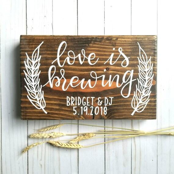 Liebe Ist Das Brauen Hochzeit Dusche Holz Zeichen Hand Bemalt Wohnkultur Hopfen