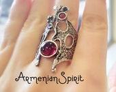 Boho ring red stone SILVER 925 bohemian unusual Armenian jewelry handmade Grape pattern multistone tribal rings ethnic jewellery Designer