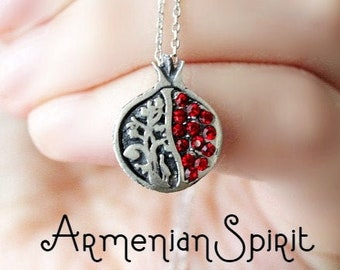 Persephone Pomegranate red PENDANT and CHAIN red stones Sterling silver pomegranate charm rouge Grenade perséphone pendentif Granatapfel