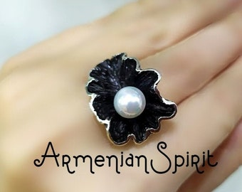 White Pearl ring Black SILVER 925 Extra big rings for women large jewelry Armenian handmade Abstract ring Vintage pearl armenian jewelry