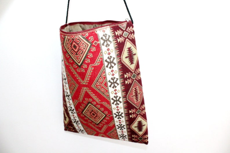 Armenian Bag crossbody Cotton blend Red Ethnic ornament with black rope Tote bag Shopper bags rectangle For mobile phone Spring gifts