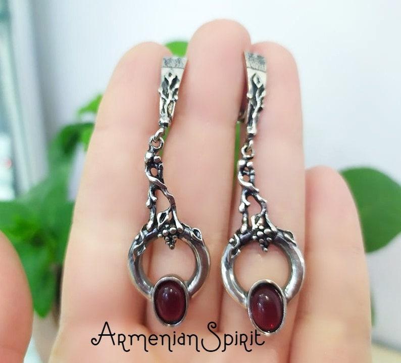 Armenian jewelry SET very long earrings and ring SILVER 925 garnet red stone Grape bunch Jewellery Women Ethnic handmade set sterling ladies