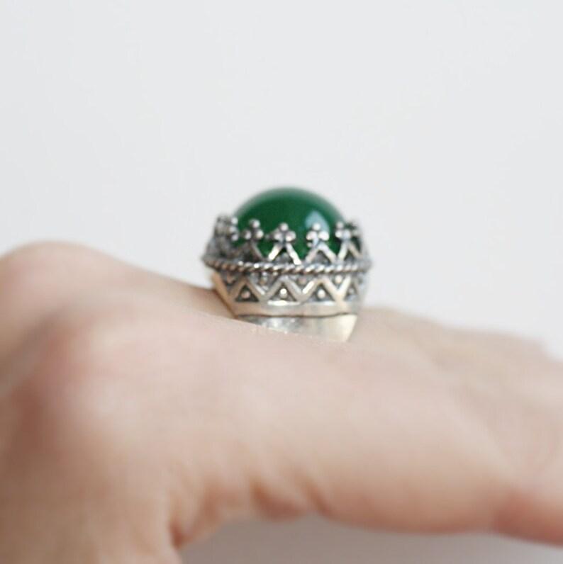 Jade SET earrings ring pendant green Vintage Armenian jewelry retro jewellery Green gemstone small STERLING SILVER 925 vintage 70th jewelry