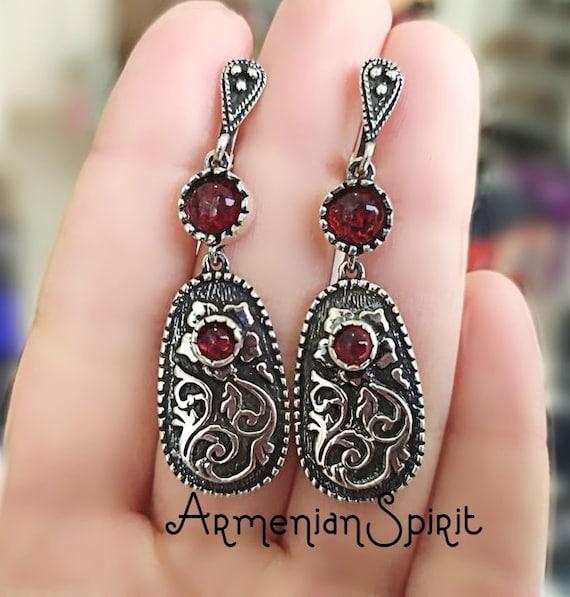 925 sterling silver earrings very long ethnic jewelry ethnic earrings armenian handmade jewelry long earrings red stone bohemian jewelry 925