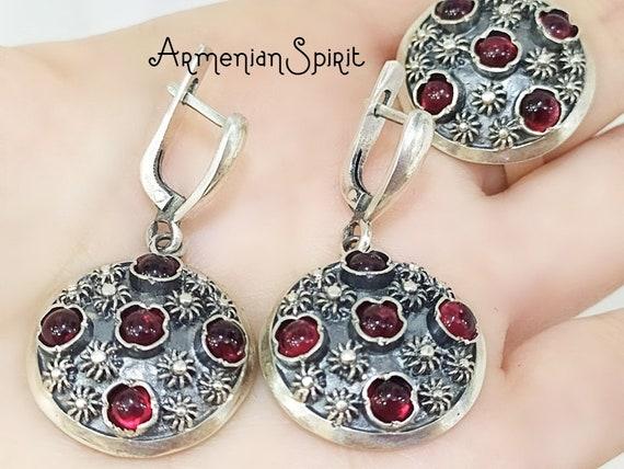 MARCASITE JEWELRY armenian jewelry sterling silver gemstones jewelry natural garnet earrings marcasite earrings garnet rings armenian gifts
